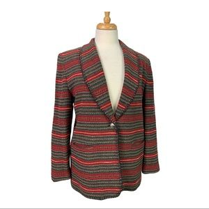 COLDWATER CREEK Striped Embroidered Trimmed Blazer